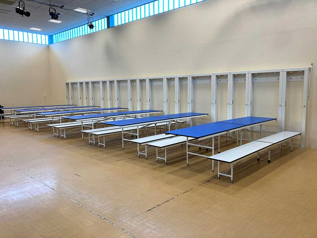 wall mounted school dining table and bench system in place